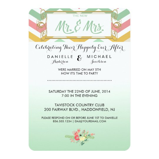 After the Wedding Chevron Pink & Green Invitation