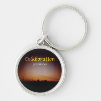 Afterglow Sky Jazz Stories Album Cover Art Black Silver-Colored Round Key Ring