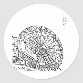 Afternoon at the Carnival Round Sticker