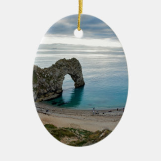 Afternoon cloud breaking up at Durdle Door Ceramic Oval Decoration