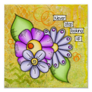 Afternoon Delight Positive Thought Doodle Flower Poster