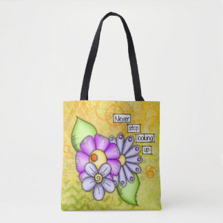 Afternoon Delight Positive Thought Doodle Flower Tote Bag