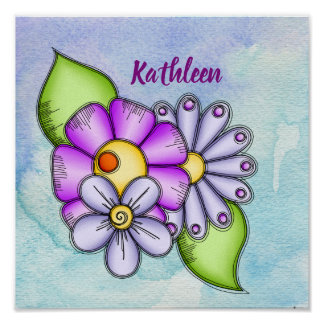 Afternoon Delight Watercolor Doodle Flower Poster