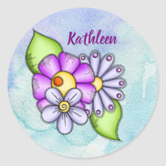 Afternoon Delight Watercolor Doodle Flower Sticker