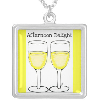 AFTERNOON DELIGHT WINE GLASSES PRINT SQUARE PENDANT NECKLACE