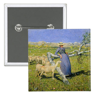 Afternoon in the Alps, 1892 (oil on canvas) 15 Cm Square Badge