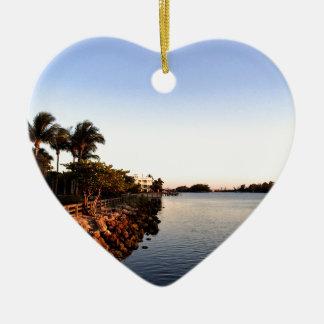 Afternoon Intercostal waterway Hollywood Florida. Ceramic Heart Decoration