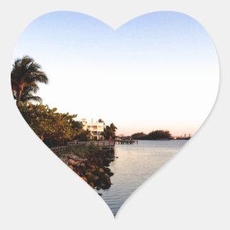 Afternoon Intercostal waterway Hollywood Florida. Heart Sticker