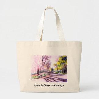 AFTERNOON SUN ON A ROAD, Ann Arbor, MI Canvas Bags