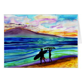 Afternoon surf lesson Lahaina Greeting Card