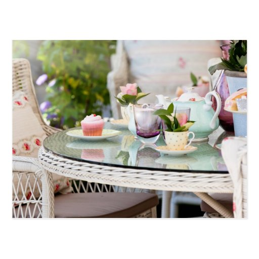 Afternoon tea and cakes in the garden postcards