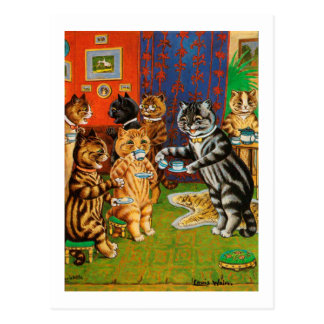 Afternoon Tea Cats, Louis Wain Postcard