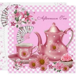 Afternoon Tea Cupcake Pink Floral Teapot Fan Card