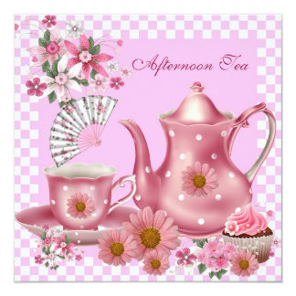 Afternoon Tea Cupcake Pink Floral Teapot Fan Card