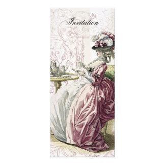 Afternoon Tea on Linen 10 Cm X 24 Cm Invitation Card