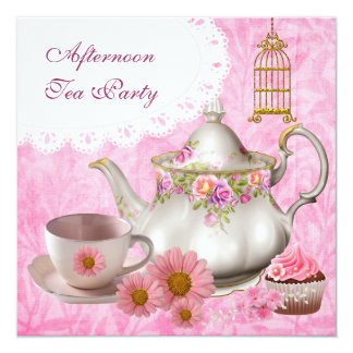 Afternoon Tea Party Cupcake Pink Floral Teapot 13 Cm X 13 Cm Square Invitation Card