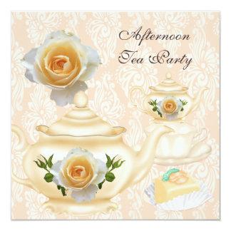 Afternoon Tea Party Peach Coral Floral Teapot 13 Cm X 13 Cm Square Invitation Card
