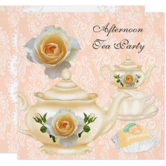 Afternoon Tea Party Peach Coral Floral Teapot Card
