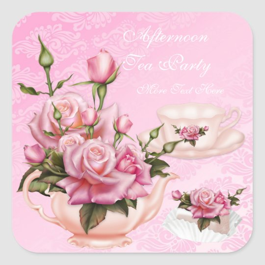 Afternoon Tea Party Pink Peach Rose Floral Teapot