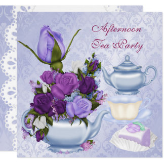 Afternoon Tea Party Purple Floral Teapot Card