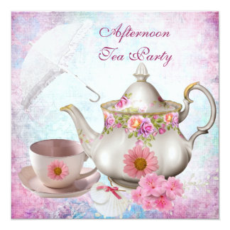 Afternoon Tea Party umbrella Pink Floral Teapot 13 Cm X 13 Cm Square Invitation Card