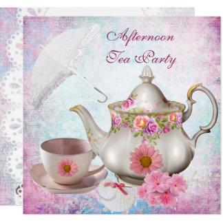 Afternoon Tea Party umbrella Pink Floral Teapot Card