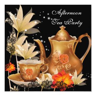 Afternoon Tea Party Vintage black gold Teapot 13 Cm X 13 Cm Square Invitation Card