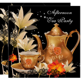 Afternoon Tea Party Vintage black gold Teapot Card