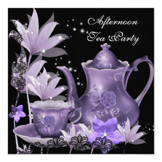 Afternoon Tea Party Vintage black Purple Teapot 13 Cm X 13 Cm Square Invitation Card