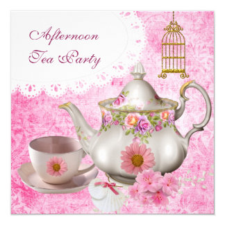 Afternoon Tea Party Vintage Pink Floral Teapot 13 Cm X 13 Cm Square Invitation Card