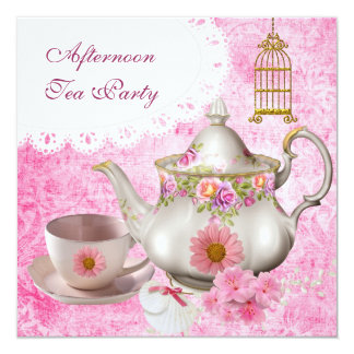 """Afternoon Tea Party Vintage Pink Floral Teapot 5.25"""" Square Invitation Card"""