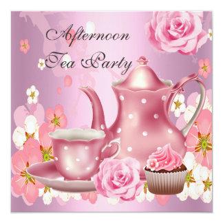 Afternoon Tea Party Vintage Pink Rose Teapot 13 Cm X 13 Cm Square Invitation Card