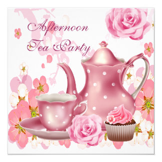 Afternoon Tea Party Vintage Pink Rose Teapot 13 Cm X 13 Cm Square Invitation Card