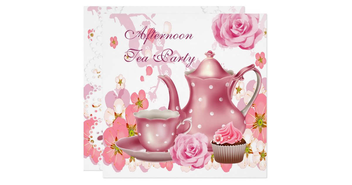 Afternoon Tea Party Vintage Pink Rose Teapot Card Zazzle