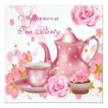 Afternoon Tea Party Vintage Pink Rose Teapot Personalized Invitation