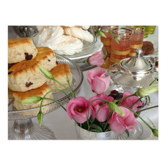 Afternoon Tea Postcard Scones Pink Flowers Teapot