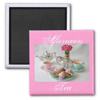 Afternoon Tea Square Fridge Magnet