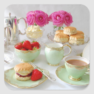 Afternoon Tea Square Stickers