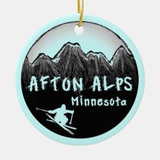 Afton Alps Minnesota skier Round Ceramic Decoration