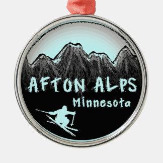 Afton Alps Minnesota skier round ornament