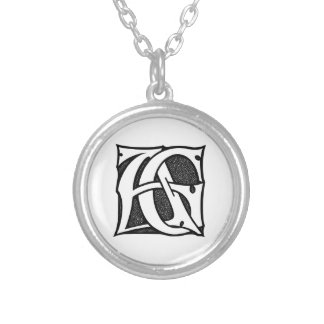 AG Monogram - Initials AG in Gothic Style Letters Pendants