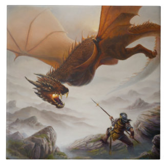 Against All Odds - dragon attacks a warrior Tile