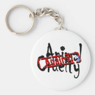 Against Animal Cruelty Keyring Basic Round Button Key Ring