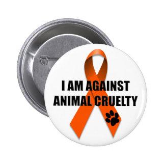 Against Animal Cruelty Orange Awareness Ribbon 6 Cm Round Badge