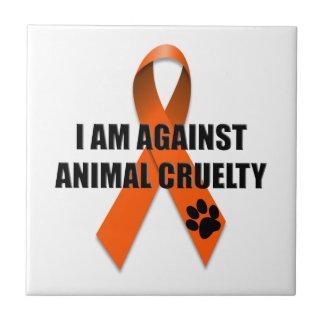 Against Animal Cruelty Orange Awareness Ribbon Tile