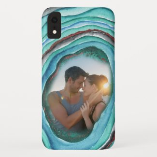 Agate Geode Turquoise Green Copper Add Your Photo Case-Mate iPhone Case