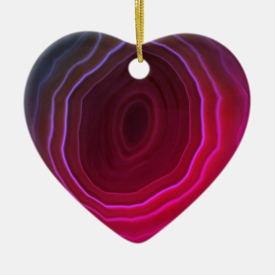 Agate slice pink heart Christmas tree decoration. Christmas