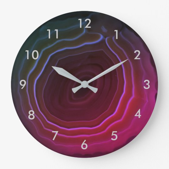 Agate slice pink stone clock with numbers.