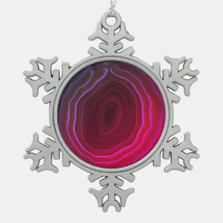 Agate slice snowflake pink tree decoration. pewter snowflake decoration