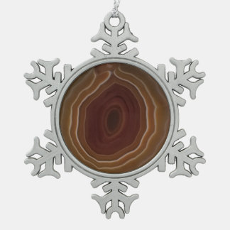 Agate slice snowflake unique tree decoration. pewter snowflake decoration